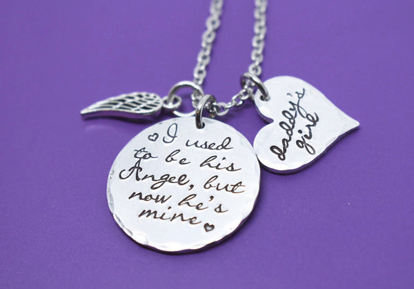 Memorial Necklace Dad, I used to be his angel now he's mine, Remembrance Necklace, Loss of Dad, Dad sympathy Gift - Designs By Tera