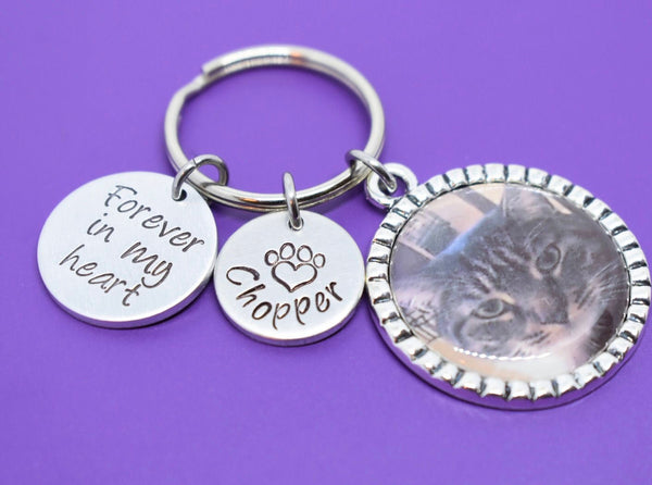 Pet memorial keychain Photo Keychain, pet memorial keychain, pet loss gift, personalized, dog cat jewelry - Designs By Tera