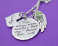 Memorial Jewelry Dad, personalized remembrance necklace, His wings were ready, mom, husband loss, Sympathy gift - Designs By Tera