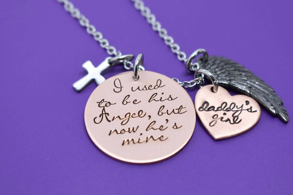 Father Memorial Necklace, I used to be his angel now he's mine, Mother memorial jewelry, Sympathy Necklace, Loss of Dad, Dad memorial Gift - Designs By Tera
