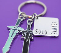 Sword Art Online Solo Player Kirito Keychiain, Dark Repulser and Elucidator Sword, Cosplay Keychain - Designs By Tera
