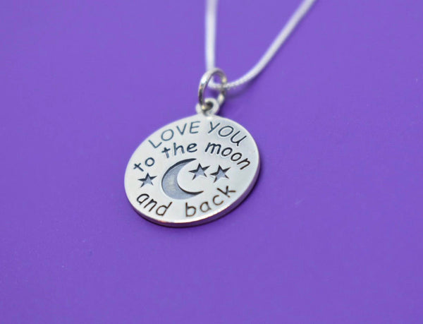 Mom Necklace - Mothers Day Gift - love you to the moon - Mom Necklace - Mom Jewelry - Sterling Silver - Dainty Minimalist - Mother - Family - Designs By Tera