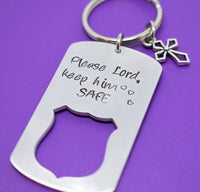 Personalized Police Officer Keychain - Police Officer Gift - Gift for Policeman - Please Lord Keep Him Safe - Gift for Police Husban - Designs By Tera