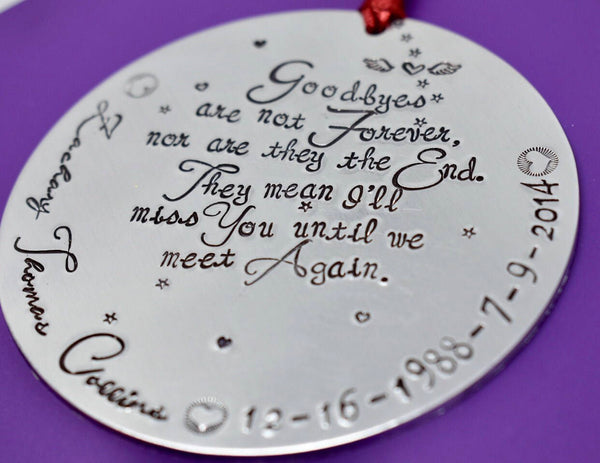 Personalized Memorial Ornaments - Remembrance Christmas  Ornament large  - Sympathy gift - Ornament - Personalized - Goodbyes - Christmas - Designs By Tera