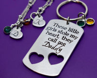 Daddy Daughter Gift Jewelry Set - Father's Day Gift - These girls stole my heart - Daddy Keychain - two daughters - Daughter Necklace - Designs By Tera