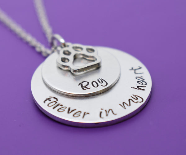 Personalized Pet Memorial Jewelry, Dog Memorial Necklace, Sympathy Gift, Forever in my Heart, Remembrance, loss of pet jewelry - Designs By Tera