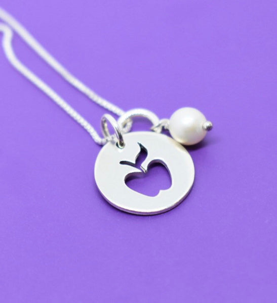 Teacher Gift - Teacher Necklace - Teacher Appreciation - Teacher Necklace - End of Year - Graduating Teacher Gift - Apple - Sterling silver - Designs By Tera