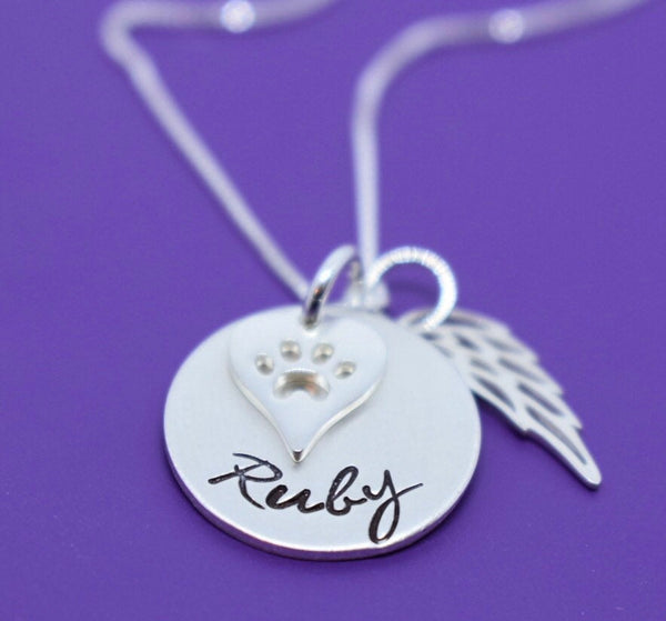 Personalized Pet Memorial Jewelry, Dog loss Gifts Necklace, Cat, Sterling silver - Designs By Tera