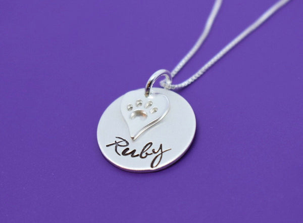 Pet Memorial jewelry, Personalized dog loss Gifts Necklace, Cat Remembrance,Fur Baby, In Memory sterling silver sympathy - Designs By Tera