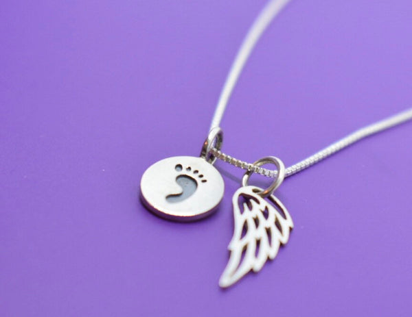 Miscarry Gift - Memorial Necklace - Infant Loss - Miscarriage Jewelry - Miscarriage Gift - Baby Footprint Necklace - Tiny Angel wing - Designs By Tera