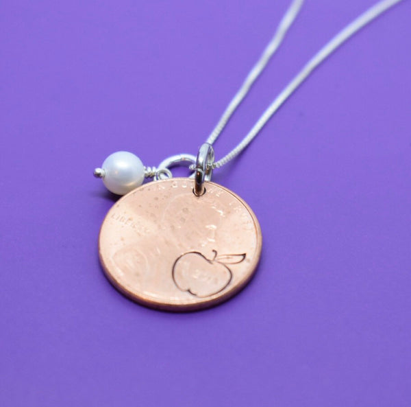 Teacher Gifts - Mentor - Apple Necklace - Penny - Personalized Teacher Gifts, Mentor Gift, Mentor, Mentor Appreciation, Mentor Teacher Gift - Designs By Tera