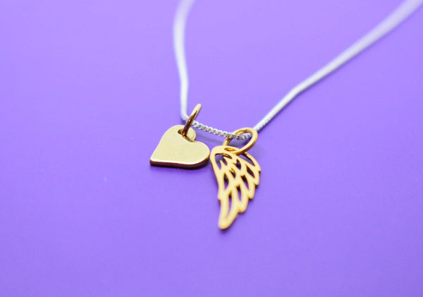Memorial NEW Tiny Angel Wing Charm Necklace 24K Gold Plate Sterling Silver