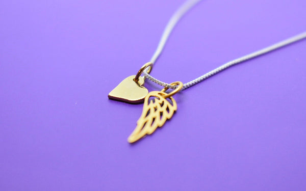 Gold Sterling Silver Memorial Necklace - Remembrance - Angel Wing Necklace - Guardian Angel Necklace - Delicate Jewelry - Tiny Charm - Designs By Tera