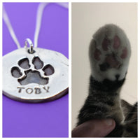 Actual Paw print necklace, Pet memorial Jewelry, Dog, nose print, hand print - Necklace - Sterling silver - Designs By Tera