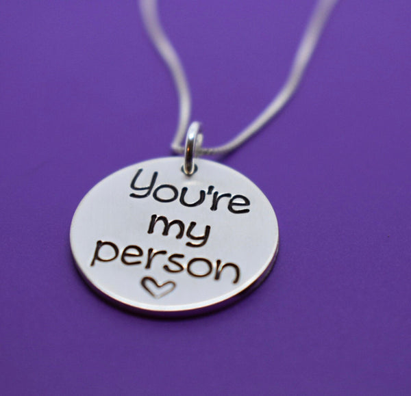 You're my person, sterling silver necklace, BFF, Sister Gift, Sister Necklace, Best Friend - Bridesmaids Gift -Gift for Daughters - Designs By Tera