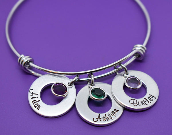 Mom Bracelet - Mothers Day Gift - Personalized Bracelet - Mom Jewelry - Gift for mom - Kids name - Birthstone - Designs By Tera