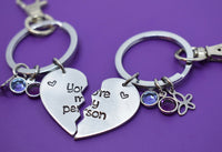 You're my person Keychain Set, Back to school gift, Best Friend Jewelry - Anatomy quote - BFF Jewelry - Youll always be my person - Designs By Tera