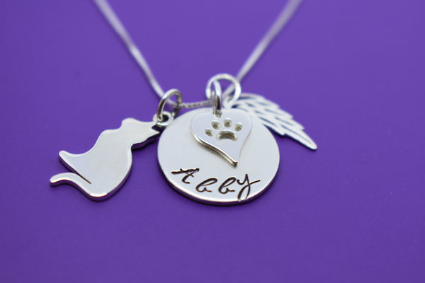 Cat Memorial Jewelry, Personalized Pet loss Sympathy Gift Necklace - Kitten Remembrance, Fur Baby, In Memorial, Sterling silver - Designs By Tera