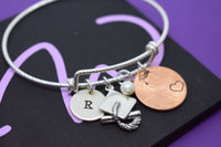 Graduation Gift for daughter, Sterling Silver Graduation Bracelet, Personalized Graduation Cap, Penny, Lucky penny jewelry, Custom name - Designs By Tera