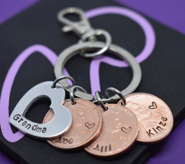 Penny Keychain - Year Penny Keychain - Gift for Mom - Grandma Keychain - Lucky Penny Keychain - Bag Clip - My Blessings - Penny jewelry - Designs By Tera