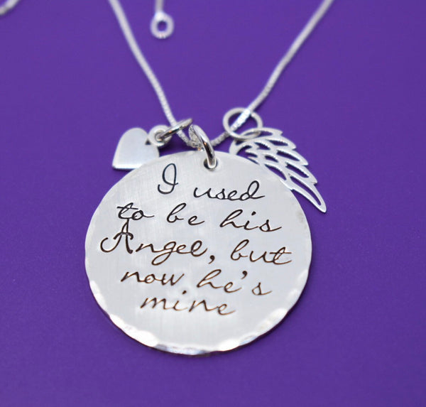 Memorial Jewelry dad, remembrance necklace, sympathy gift, I used to be his angel, but now he's mine, sterling silver - Designs By Tera