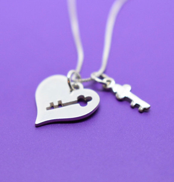 Heart Lock - Heart Key - Key necklace  - Sterling Silver Jewelry - Key to my heart - Dainty Jewelry - Designs By Tera