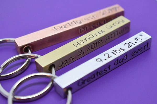 Fathers Day Gift - Personalized -Dad Gift - Dad Keychain - Father's Day Gift - Gift for Dad - Grandpa - Dad est. Childrens name - 4 sided - Designs By Tera