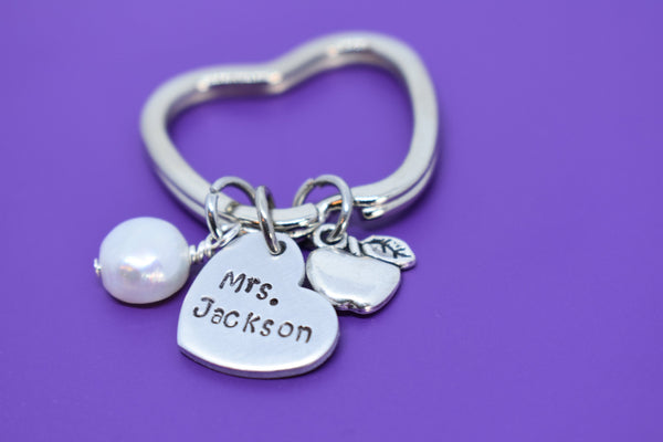 Personalized Teacher Keychain - Teacher Gift - Teacher Appreciation - Custom Teacher Jewelry - Apple Keychain - Teacher Name - Gift - Designs By Tera