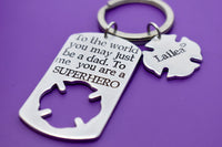 Firefighter Gift - Fathers Day Gift - Fireman, dad, Hero, Personalized - Fathers day gift - Dad Keychain - DAD Gift - Superhero Dad - Daddy - Designs By Tera