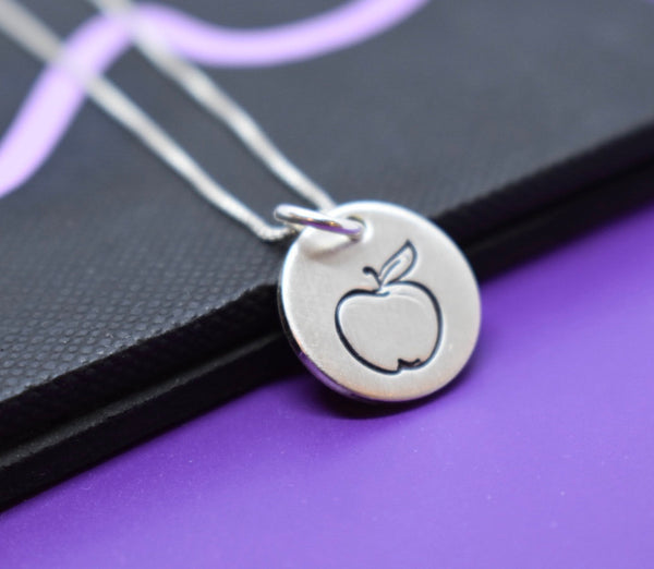 Gift for Teacher Necklace, Dietitian, Minimalist, tiny Charm sterling silver jewelry, apple - mentor - instructor - Designs By Tera