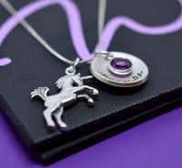 Unicorn necklace, personalized jewelry, initial necklace, swarovski birthstone, birthstone necklace, unicorn jewelry, unicorn gift, for her - Designs By Tera