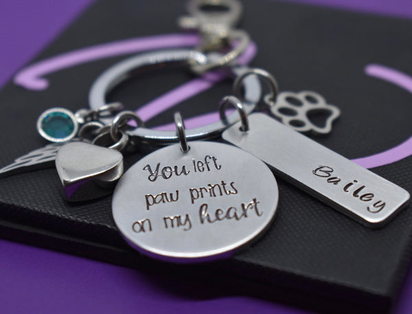 Pet memorial Cremation Keychain, dog loss gift, Personalized  Cat Remembrance jewelry, you left paw prints on my heart - Designs By Tera