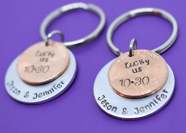 Personalized Penny keychain Boyfriend Gift - Anniversary Gift for Men - Valentines Gift - Couples Keychain Set - Money Keychain - Designs By Tera