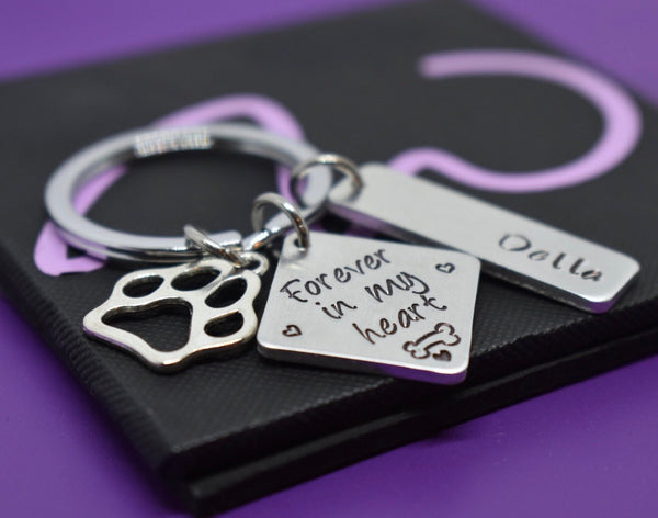 Dog Memorial Keychain Personalized Pet loss gift, sympathy gift dog loss, forever in my heart, remembrance, paw prints on my heart - Designs By Tera