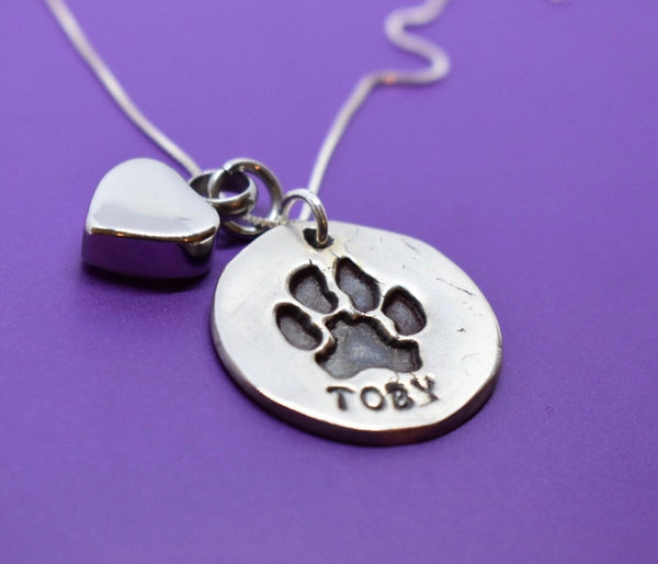 Actual Paw Print Necklace, Personalized Pet Memorial Jewelry Cat or Dog Cremation, Urn Remembrance, Sterling silver - Designs By Tera