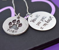 Actual Paw print necklace, Pet memorial jewelry - Dog cat loss gift nose print - hand print - Necklace - Jewelry - Hand cast from image - Designs By Tera