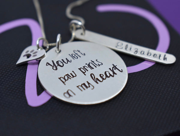 Pet Memorial Jewelry, Personalized Dog Cat loss Sympathy gift, you left paw prints on my heart, sterling silver - Designs By Tera