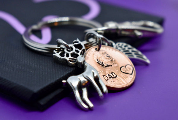 Memorial Jewelry Dad, Remembrance Gift Penny Keychain, Personalized hunting, sympathy gift - Designs By Tera