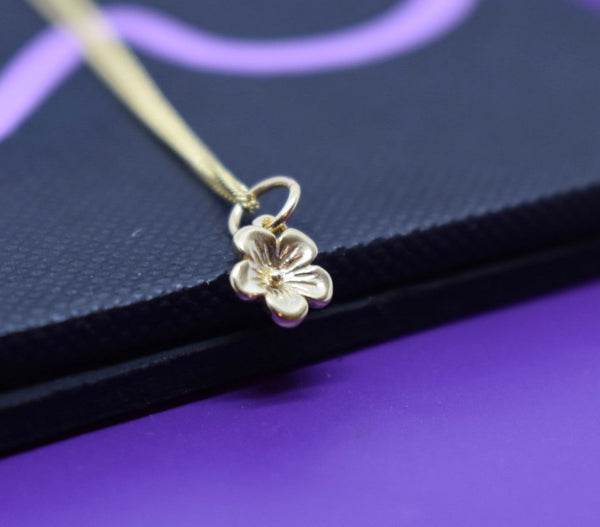 Delicate 14 K gold, Necklace, Flower, Gold Flower Necklace, Thin Solid Gold Necklace, 14k solid gold Necklace, Dainty Gold Necklace - Designs By Tera