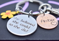 Penny keychain , She Believed She Could So She Did , Sobriety gift for women - Graduation Gift - Motivation Necklace - Motivation Jewelry - Designs By Tera