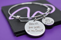 Personalized Pet Memorial Jewelry, Dog bracelet cat Loss Gift, you left paw prints on my heart In Memory, bangle - Designs By Tera