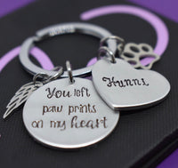Pet Memorial Jewelry, Personalized Dog loss Gifts Keychain, Cat Remembrance, You left paw prints on my heart - Designs By Tera
