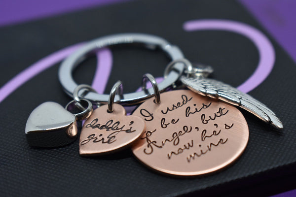 Cremation Memorial Jewelry Dad, Remembrance keychain, Sympathy gift, I used to be his angel now he's mine, - Designs By Tera