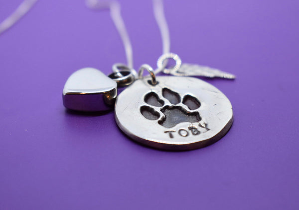 Actual Paw Print Necklace, Personalized Pet Memorial Jewelry Cat or Dog Cremation Necklace, Remembrance sterling silver - Designs By Tera