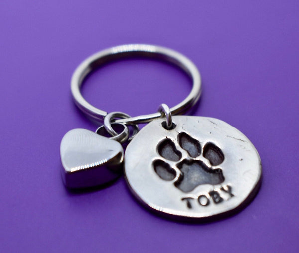 Actual Paw Print Keychain , Personalized Pet Memorial  Jewelry Cat or Dog Cremation urn keyring Remembrance, Silver - Designs By Tera
