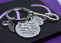 Memorial gift Dad Keychain, Fishing, I used to be his angel, Dad remembrance, sympathy - Designs By Tera