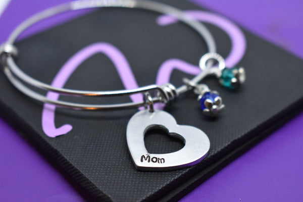 Mom Bracelet - Mother's Day Gift - Expandable Charm Bracelet - Heart Bracelet - Personalized Jewelry - Custom Bracelet - Gift for Mom - Designs By Tera