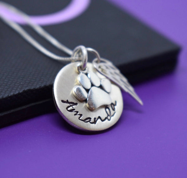 Pet Memorial Necklace, Personalized dog loss Gift Jewelry, Cat Remembrance, fur baby in memory, sterling silver - Designs By Tera