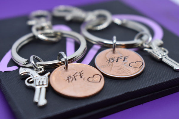 Best Friends Penny Keychain Set - Couples Keychain Set of 2 - Partners in crime, penny, gun, personalized, Personalized Custom Keychain - Designs By Tera