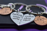 Best Friends Penny Keychain Set , penny  Couples Keychain Set - Nothing makes sense when we're apart - Personalized Keychain - Designs By Tera